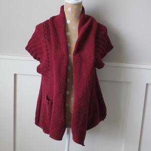 Anthro burgundy short sleeve chunky sweater